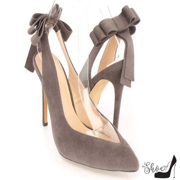 Liliana Shoes - Yvette Grey Bow Pointed Toe Slingback Heels